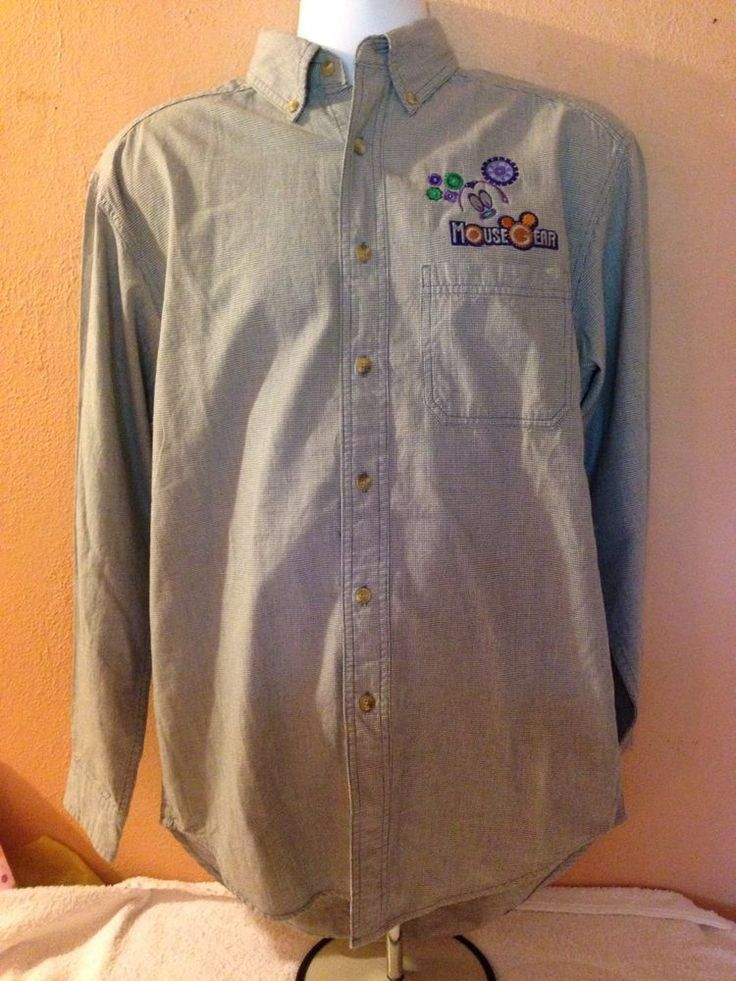 Disney Cast Member Mouse Gear 1999 Herringbone Button Down Shirt Small  | eBay