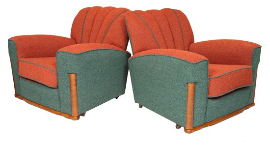 Pair of Reupholstered Art Deco Armchairs, British c.1930