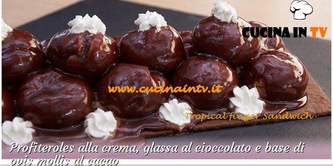 Profiteroles alla crema glassa al cioccolato e base di ovis mollis al cacao ricetta Federico da Bake Off Italia | Cucina in tv