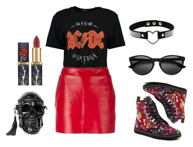 """""""Red Leather"""" by girlbehindthebluedoor1590 on Polyvore featuring Boohoo, Barbara Bui, Dr. Martens and Killstar"""