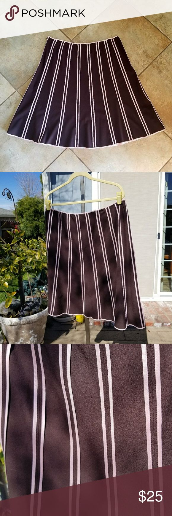 """Flirty Skirt! From Macy's INC Woman's Collection,  this flirty chocolate brown skirt with blush pink satin ribbon trim is beautiful for Spring and Summer!!  Side zip  with hook and eye closure at the waist.   Length:  25""""   Beautiful fabrics,  nice weight,  nice swing movement when walking.   Only worn once.   Looks great with coordinating tank and pullover sweater,  both posted separately. INC International Concepts Skirts A-Line or Full"""