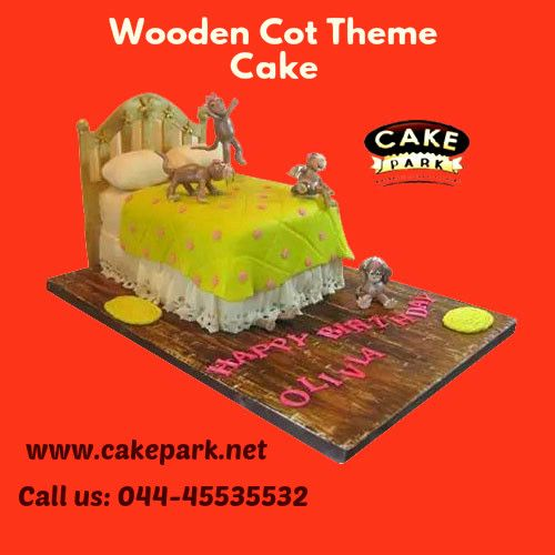 Wooden Cot #Theme #Cake available at our #cake shops in #Chennai and #Bangalore. You can order the #cake through #online. For more info: www.cakepark.net Express Booking:  044-45535532