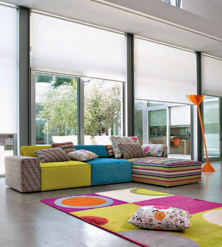 Orange Floor Lamp Combine With Colorful Sectional Sofa Design Plus Matching  Rug Design For Living Space