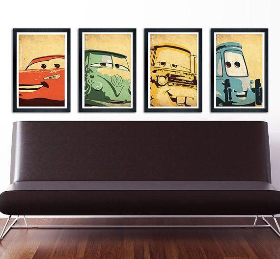 "Cars poster set 11""x17"" Lightning McQueen, Mater, Fillmore, Guido on Etsy, $40.00"