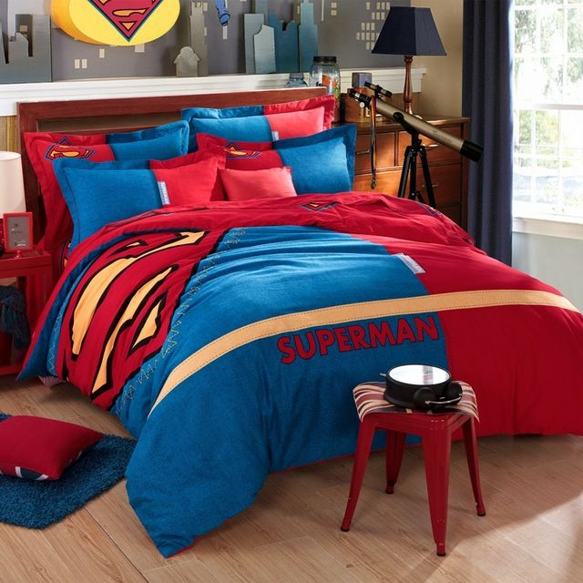 Superman bedding set,brushed fabric 100 cotton queen twin full size bed linens,duvet cover blue&red bed sheet bedding pillowcase