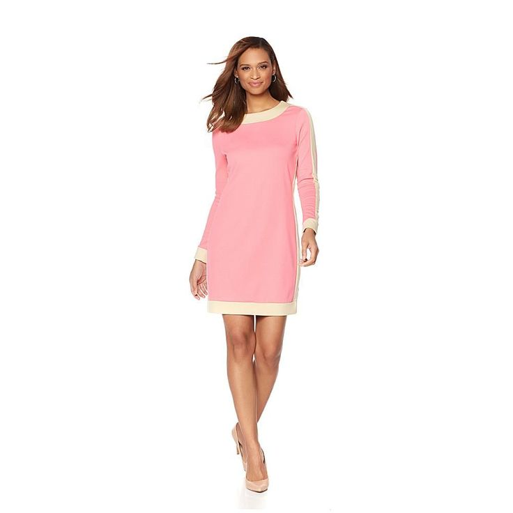 That Woman By Marlo Thomas That Woman! by Marlo Thomas Colorblock Ponte Dress - Peonypink/Champgn