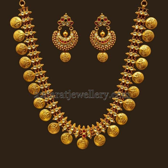 Lakshmi Necklace with Polki Stones | Jewellery Designs