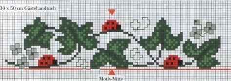 Χειροτεχνήματα: μπορντούρες και γωνίες με πασχαλίτσες για κέντημα / ladybug cross stitch borders and corners