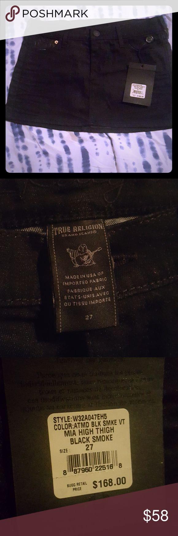 True Religion MIA Thigh high skirt Mini Black Jean Skirt True Religion Skirts Mini