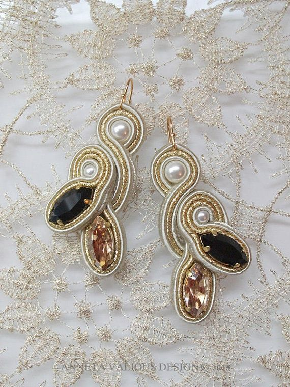 Soutache embroidered earrings ChampsElysees by AnnetaValious, $120.00