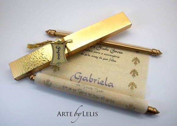 Convite para festa temática, árabe. Pergaminho especial. Acompanha caixa.