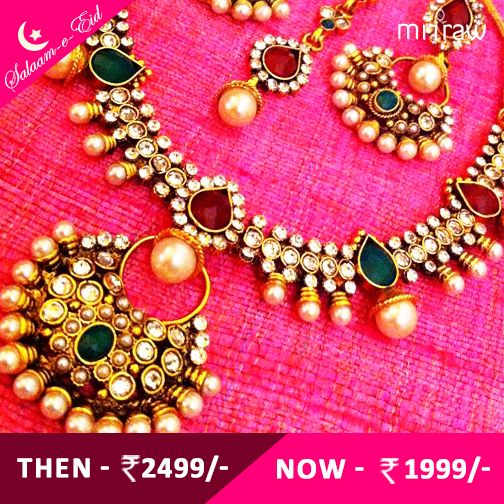 Maroon red green stones in tear drop dangler with ‪#‎dazzling‬ polki work pearl necklace set.Shop Now- http://bit.ly/1NyFZr5  ‪#‎Salaam‬-e-Eid