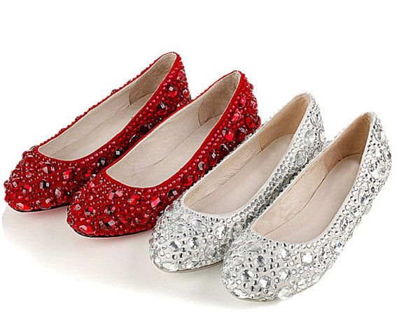 Luxury Red Or Silver Ruby Crystal Flats Shoes Bridal