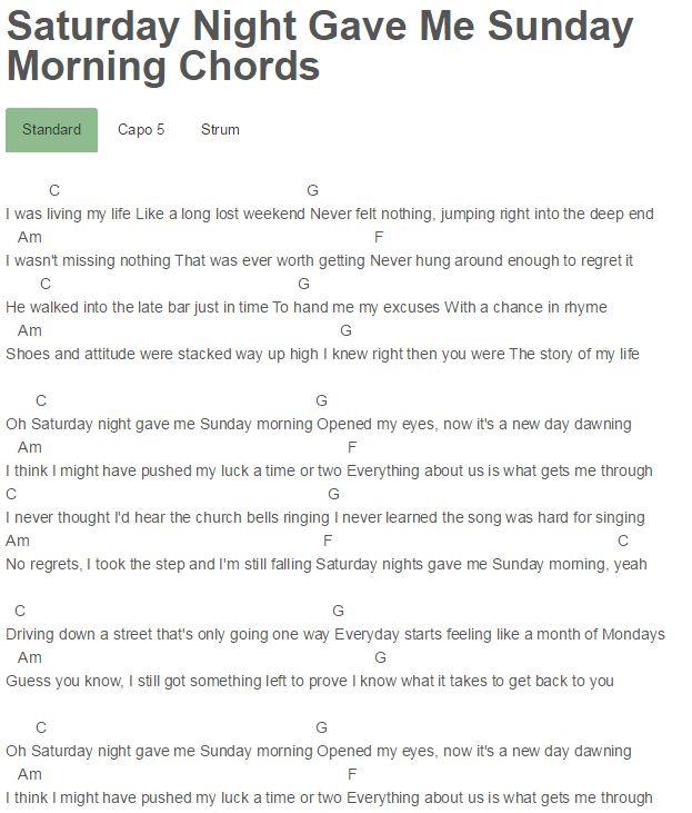 Saturday Night Gave Me Sunday Morning Chords Bon Jovi