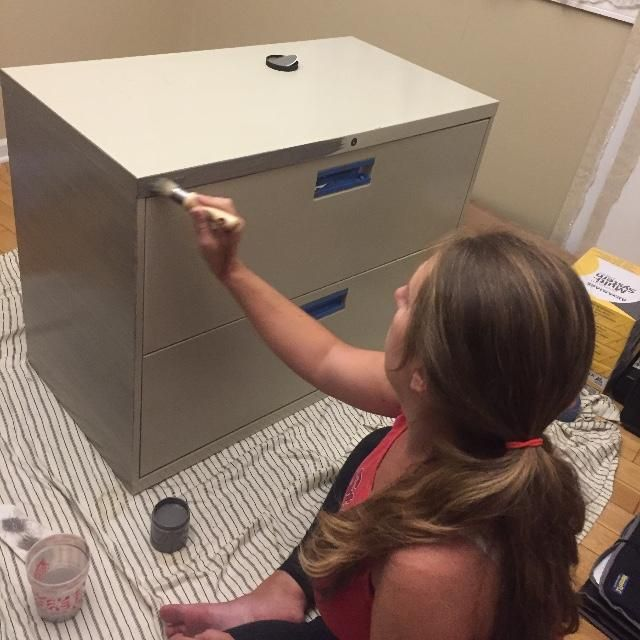 You've probably never seen a file cabinet look this good! A diy painted file cabinet is perfect for any home office.