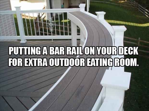 Build a bar into your deck. This is an interesting idea for a home deck or even a business deck. A built in bar area.