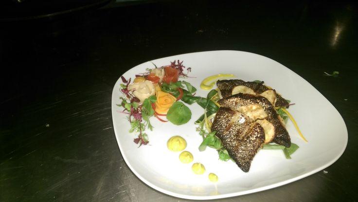 Pan fried sea bass dish by member Gerard McCluskey