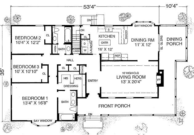 House Plan #302-204 This 1600 square feet ranch style 3 ...
