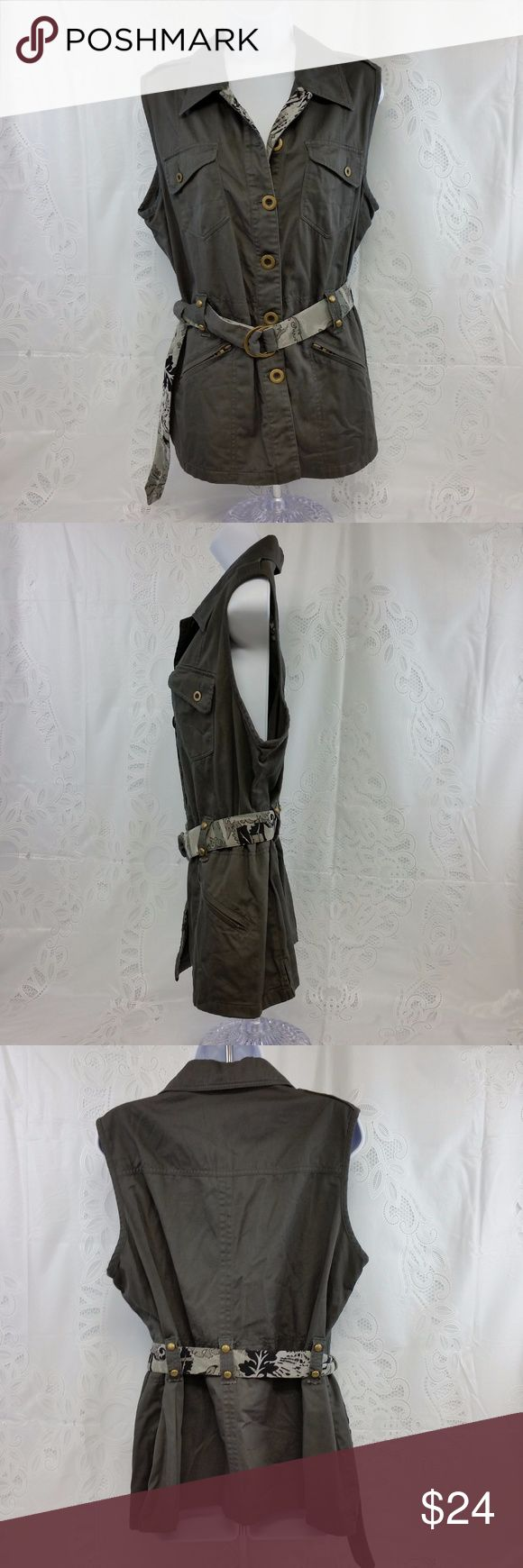 BNW 16 Gray Sleeveless Jacket w/ Reversible Belt This is a size 16.  The belt is reversible.  There are some loose strings.  It is 100% cotton. Measurements are shown in the pictures.  Let me know if you have any questions. :) B.N.W. Jackets & Coats