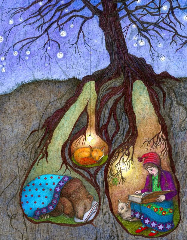 16x20 Giclee Illustrated Print, Bedtime Stories, Girl with kid, bear, fox