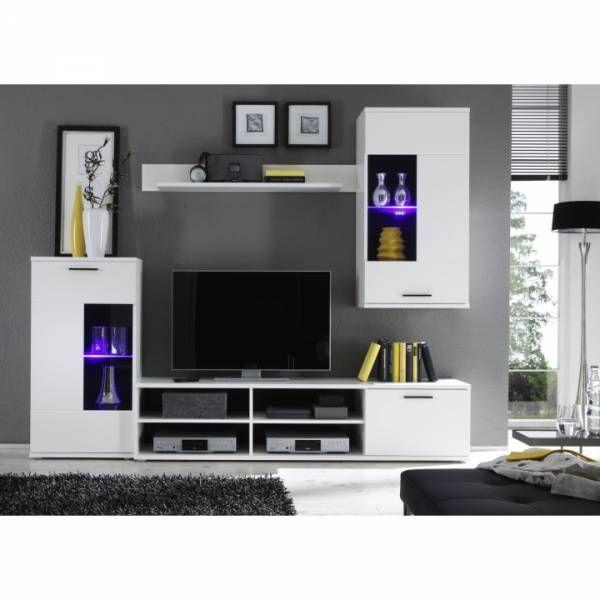 Obývacia stena Tempo Kondela FRONTAL 1 s osvetlením - biela/číre sklo