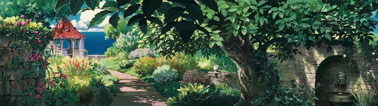 General 3840x1080 Studio Ghibli Porco Rosso multiple display garden gazebo path