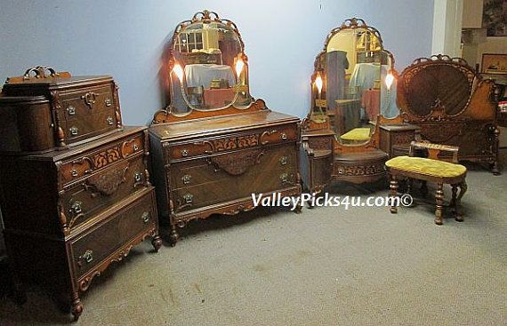 Antique Bedroom Set Lighted Mirrors Bed Vanity by picks4u on Etsy