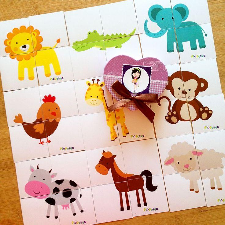 """""""PiaPolya Dört Parçalı Hayvan Görsellerini Tamamlama Kartları""""  18 ay ve 36 ay arası çocuklar için uygundur."""