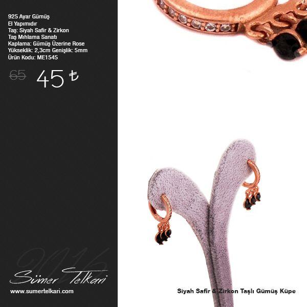 Siyah Safir & Zirkon Taşlı Gümüş Küpe  http://www.sumertelkari.com/TASARIM-ROS-GUMUS-KUPE-1545,PR-11178.html  #gumuskupe #siyahsafir #zirkon #taslikupe #rosekaplama #handmade #elyapimi #hediye #gift #indirimli #tasarim