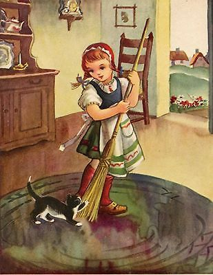 Antique Vintage inspired note card blank inside. Girl & cat sweeping