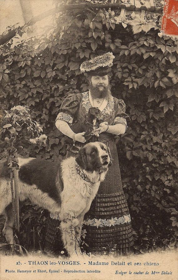Clémentine Delait, The Famous Bearded Woman!!! Outrageous Outdoor Garden Portrait with Funny Dogs, Original Rare 1900s French Photo Postcard