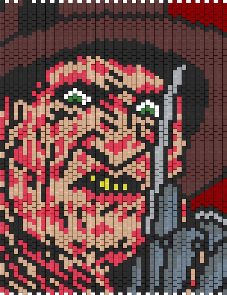 Freddy Krueger Bead Pattern | Peyote Bead Patterns | Characters Bead Patterns