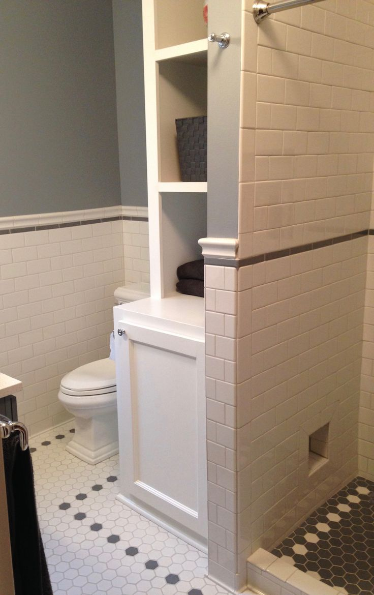 Bathroom Remodel With Subway Tile Walls And Hex Tile Floor.