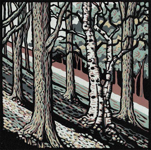 Jill Kerr kinderbank linocut summerfieldstudio.co.uk