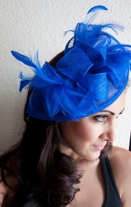 "Royal Blue Fascinator - ""Penny"" Mesh Hat Fascinator with Mesh Ribbons and Royal Blue Feathers"