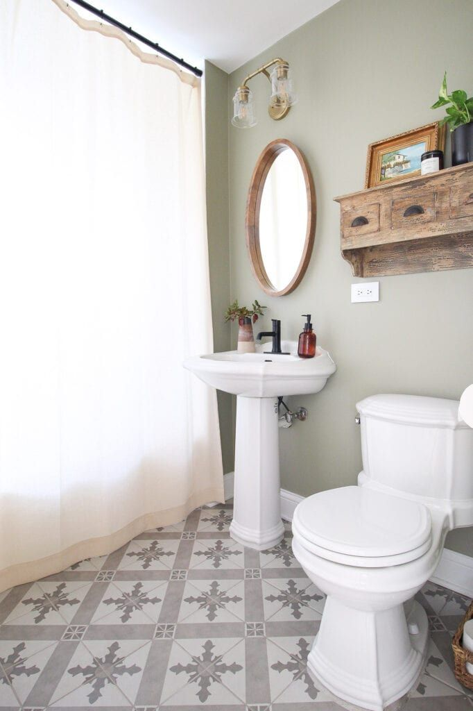 Bathroom Refresh New Paint Tile Accessories In 2020 Bathroom Refresh Light Green Bathrooms Bathroom Decor