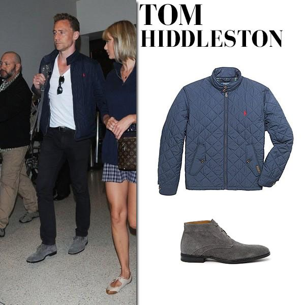 Tom Hiddleston in blue quilted jacket, black jeans and grey boots