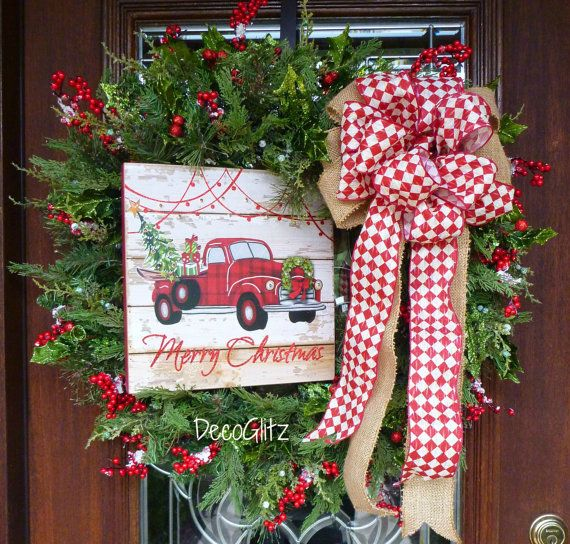 FARMHOUSE RED TRUCK Evergreen Christmas Wreath with by decoglitz
