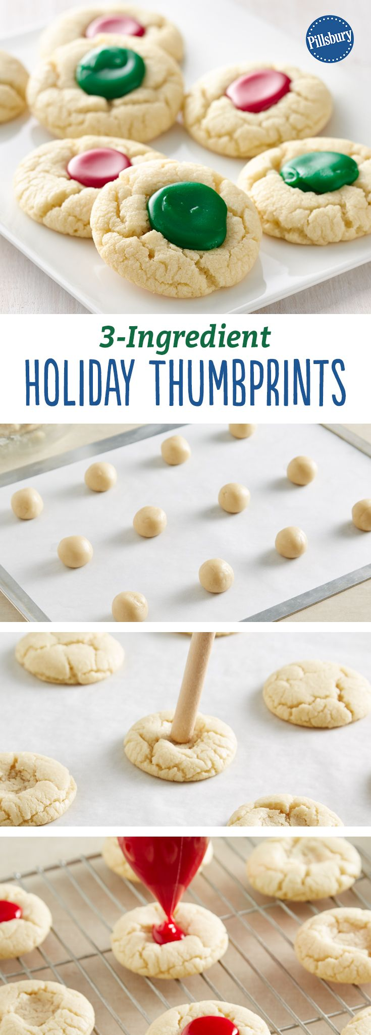 3-Ingredient Holiday Thumbprints: Kids will have fun filling these easy thumbprint cookies with colored icing.