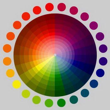Kleurenwiel van Newton. Hoe meer naar binnen, hoe meer wit aan de kleur is toegevoegd. Hoe meer naar buiten, hoe meer zwart is toegevoegd. De echte kleuren bevinden zich in de middenste concentrische cirkel van het wiel.