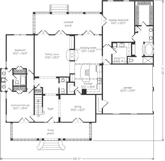 Nice open floor plan keeping room large enough to be for House plans with keeping rooms