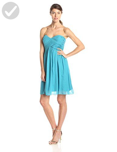 Donna Morgan Women's Strapless Sweetheart Chiffon Dress, Blue/Green, 10 - All about women (*Amazon Partner-Link)