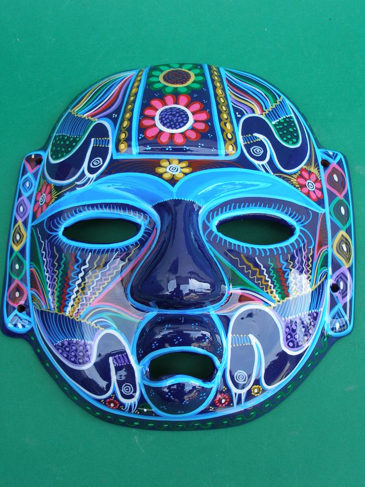 Painted Head Art Mayan Head Hand Painted Clay Mask
