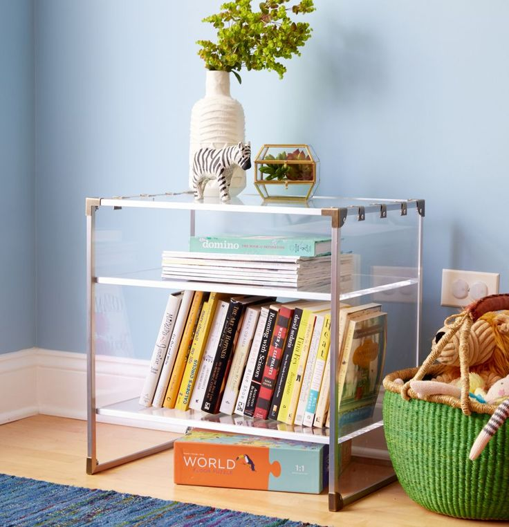 Crystal clear acrylic nightstand the land of nod