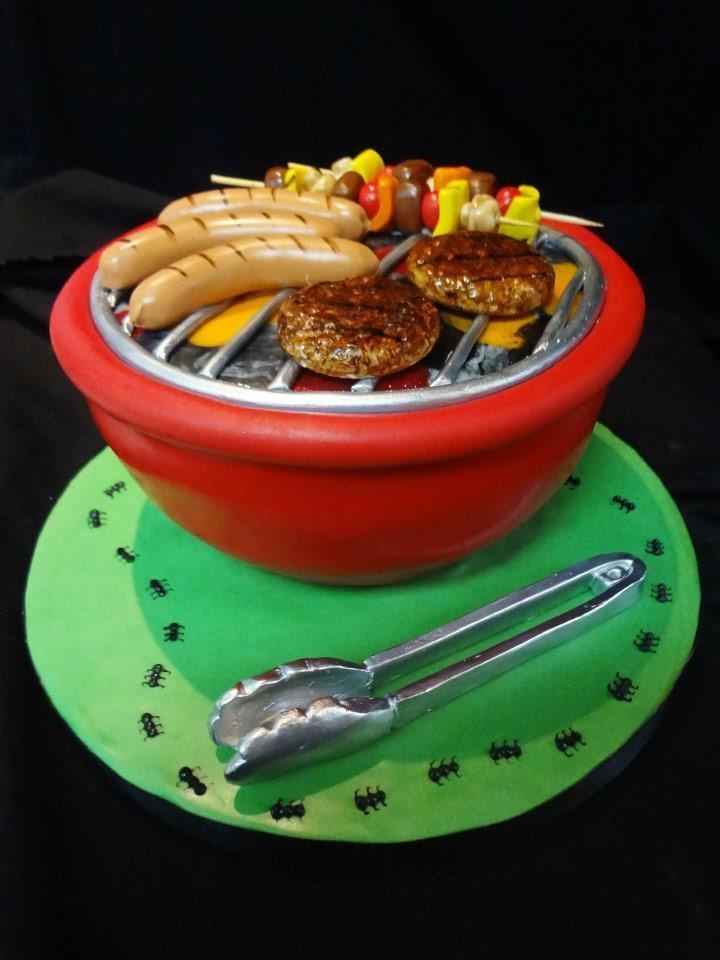 Miniature BBQ cake...how cute!  www.cakeaters.com