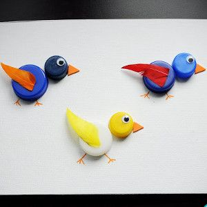 These adorable recycled crafts for kids are easy enough for even the tiniest hands to make. Bottle Cap Birdies are budget friendly and fun.