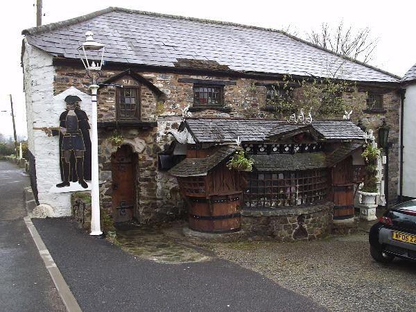 The Highwayman Inn, Sourton, Devon UK built in the 13th century, on the edge of Dartmoor. Haunted!