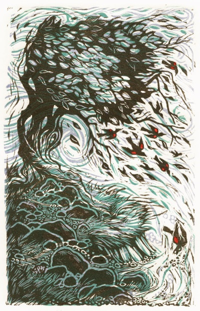 Red Winged Blackbirds and Talking Trees Linocut Printmaking