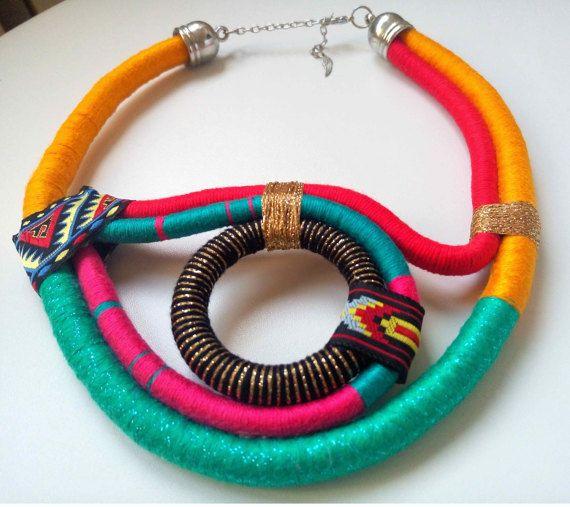 Tribal collar  joyas africanas multicolor  por UtopiaManufactory