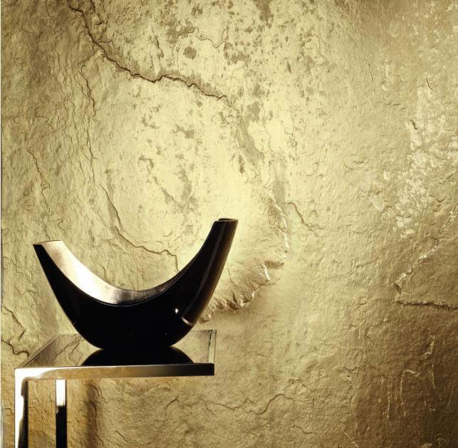 Stein Tapete Schiefer mit Gold Bronze Kupfer Silber Perlmutt weiss und schwarz kaufen